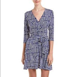 Leota Longsleeve wrap dress geometric stripes blue